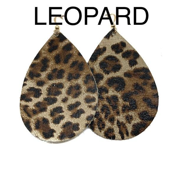 9 Styles! Large Leather Teardrop Earrings