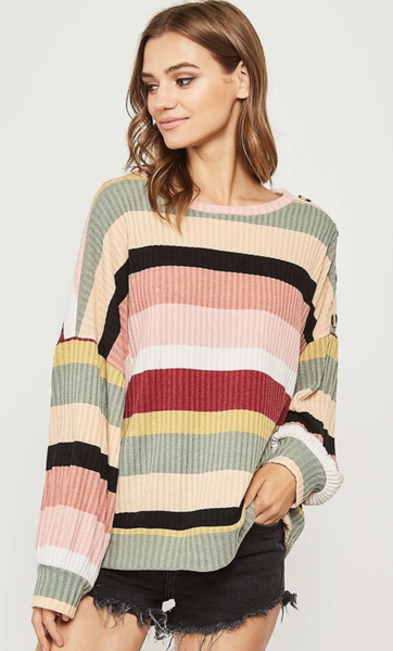 Follow Your Heart Striped Knit Top