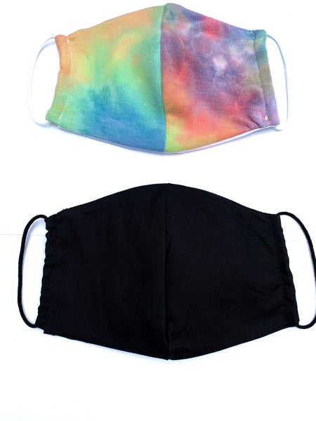 Bright Tye Dye + Black Facial Masks - 2 Pack!
