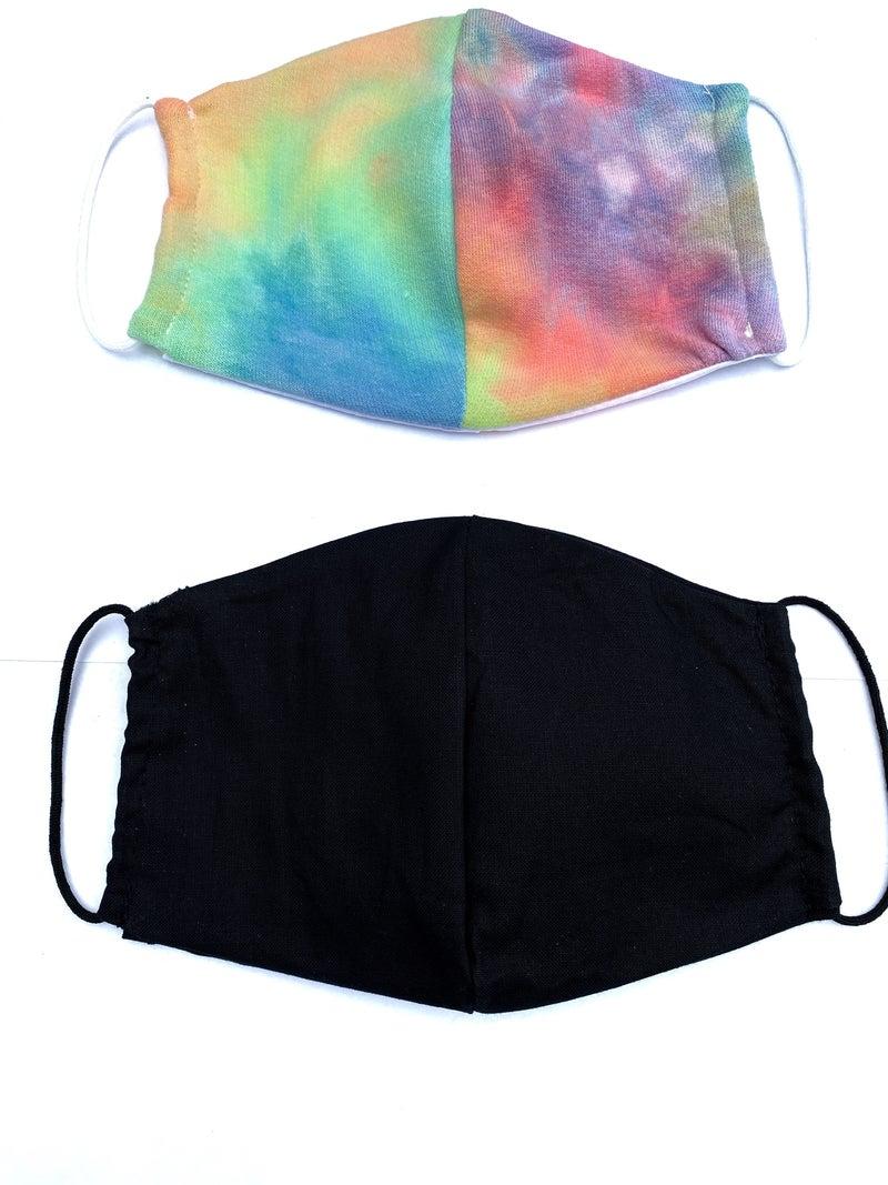Bright Tye Dye + Black Facial Masks - 2 Pack!