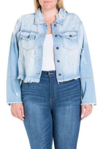 CELLO CROP DISTRESSED DENIM JACKET