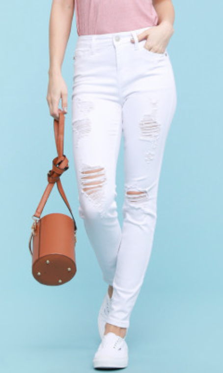 Judy Blue White Love Me Skinny Jeans