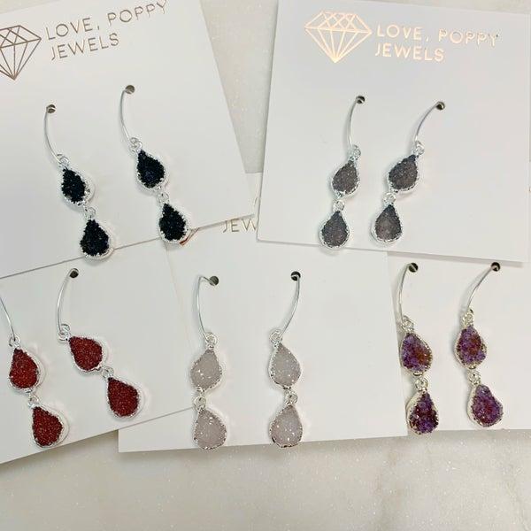 Love Poppy Double Teardrop Earrings - Silver