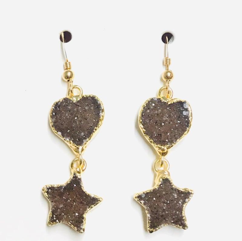 Gold Druzy Heart & Star Earrings - 4 Colors!