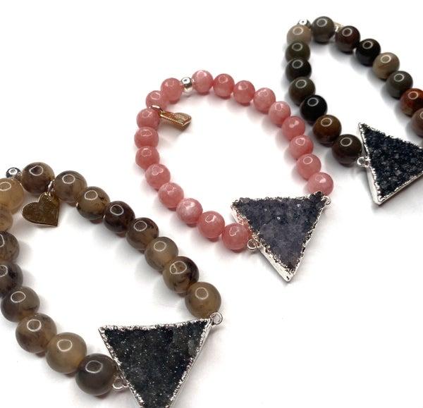Silver Druzy Triangle Bracelet - Extended