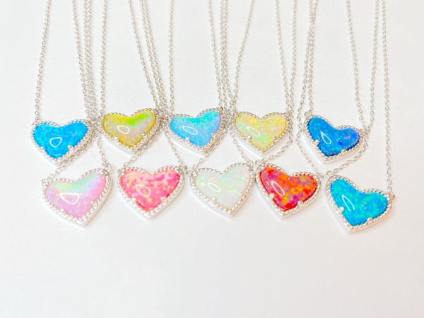 BAR Exclusive Opal Heart NECKLACE! - 10 Colors!