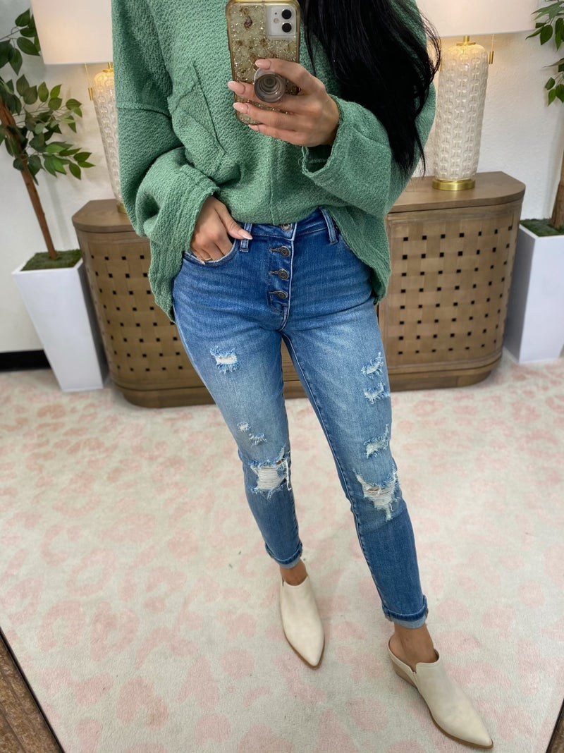 Risen Chasing Dreams Mid Rise Button Fly Skinny Jeans