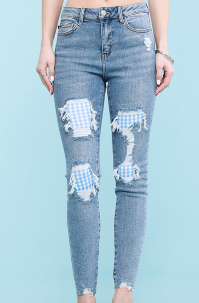 Judy Blue Dorothy Gingham Patch Skinny Jeans