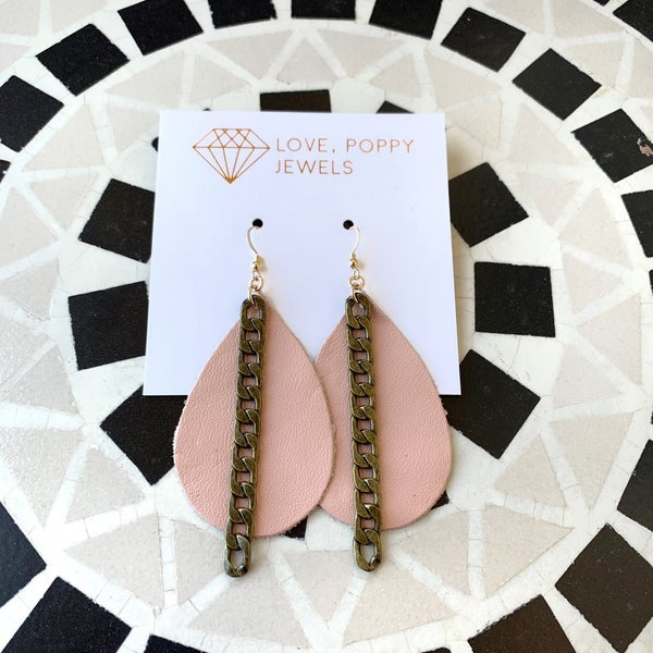 Peachy Pink- Leather And Chains Earrings