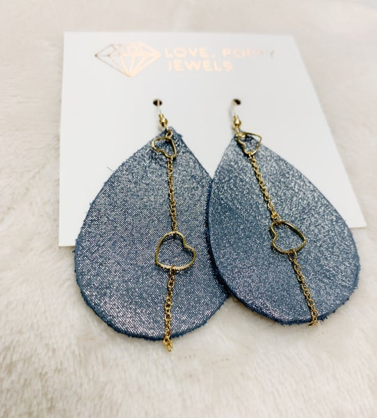 Blue Shimmer & Hearts Leather And Chains Earrings