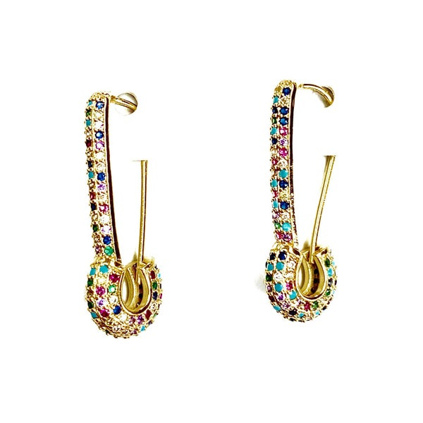 Safety Pin Multicolor Earrings