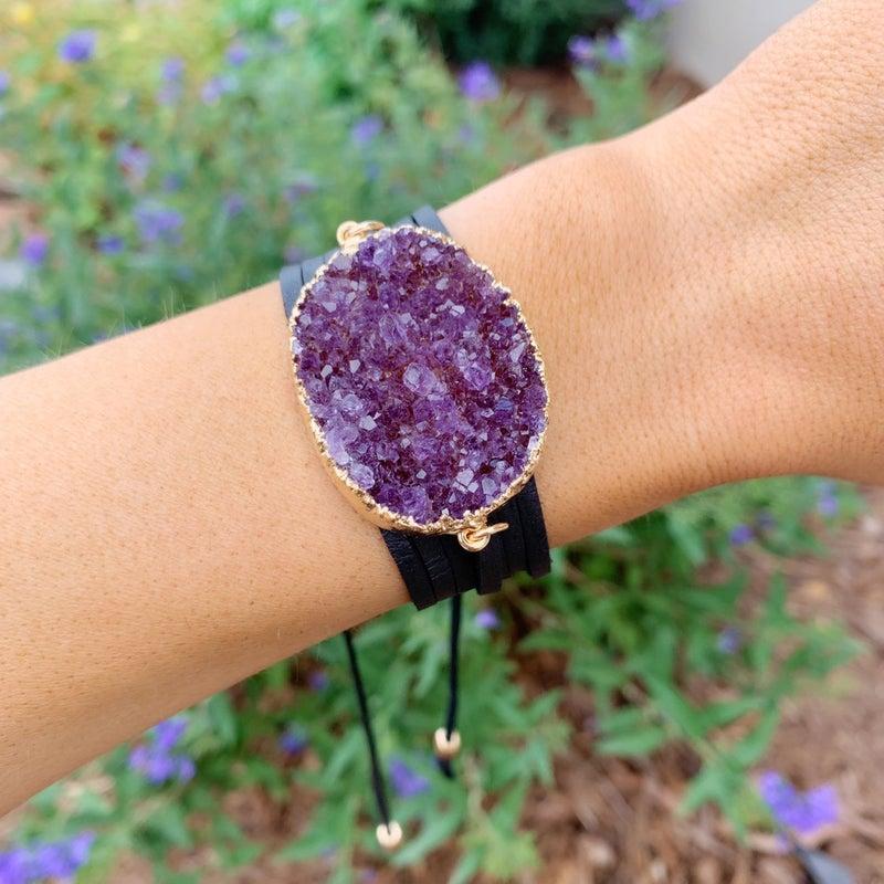 A Lot To Love Druzy Leather Wrap Bracelet