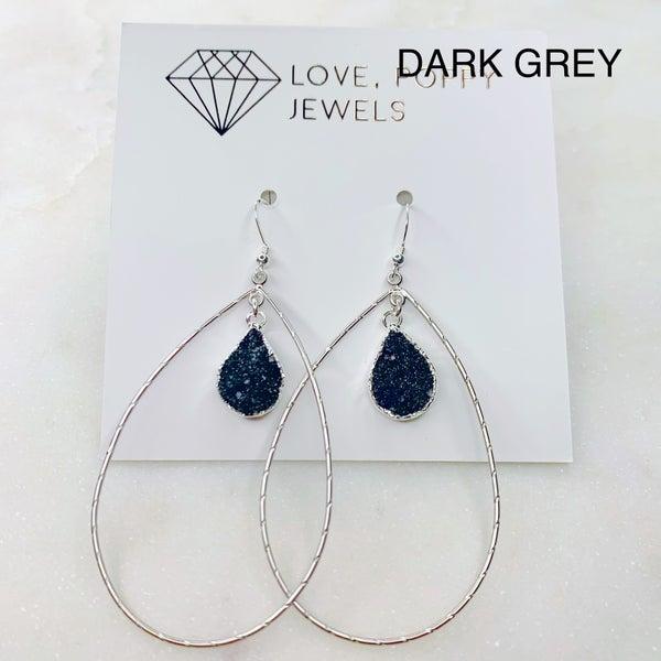 Love Poppy Layered Teardrop Druzy Earrings - Silver (3 Colors)