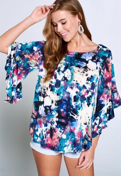 A Good Time Ruffle Sleeve Top