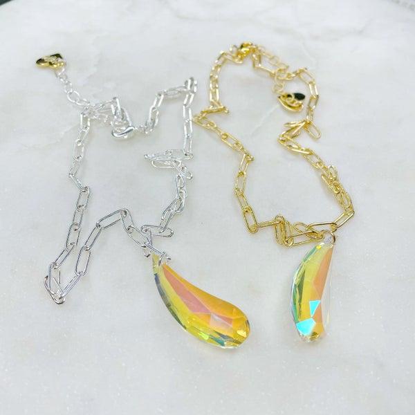 Love Poppy Swarovski Pendant with Paper Clip Chain - (2 Colors)