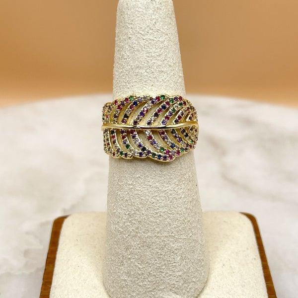 Melania Clara Leaf Ring Gold - Multi