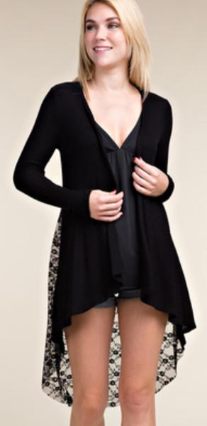 Lace Back Contrast Cardigan - 2 Colors!