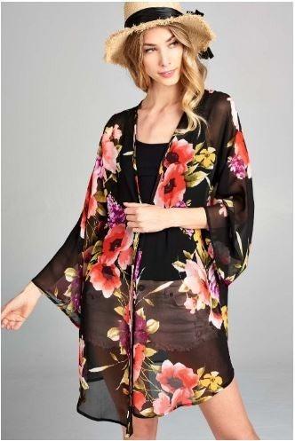 Chiffon Floral Open Front Kimono