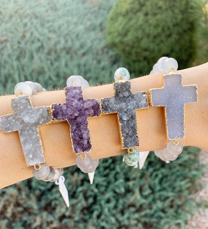 Druzy Cross Bracelet
