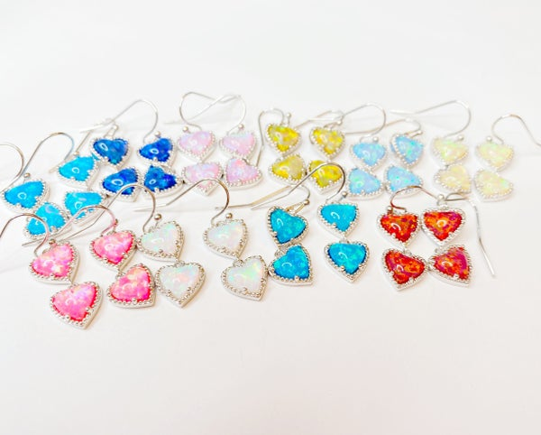 BAR exclusive Opal Heart EARRINGS! - 10 Colors!