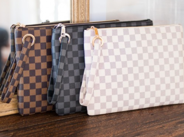 Checker Oversize Clutch Bag - 3 Colors!