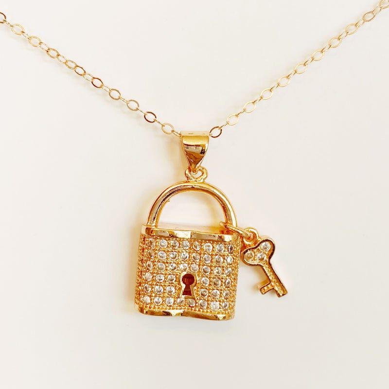 Lock And Key Necklace - Rose Gold