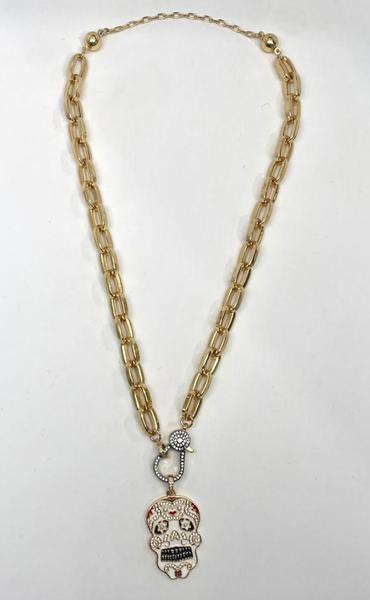 Melania Clara Sugar Skull Necklace - Gold