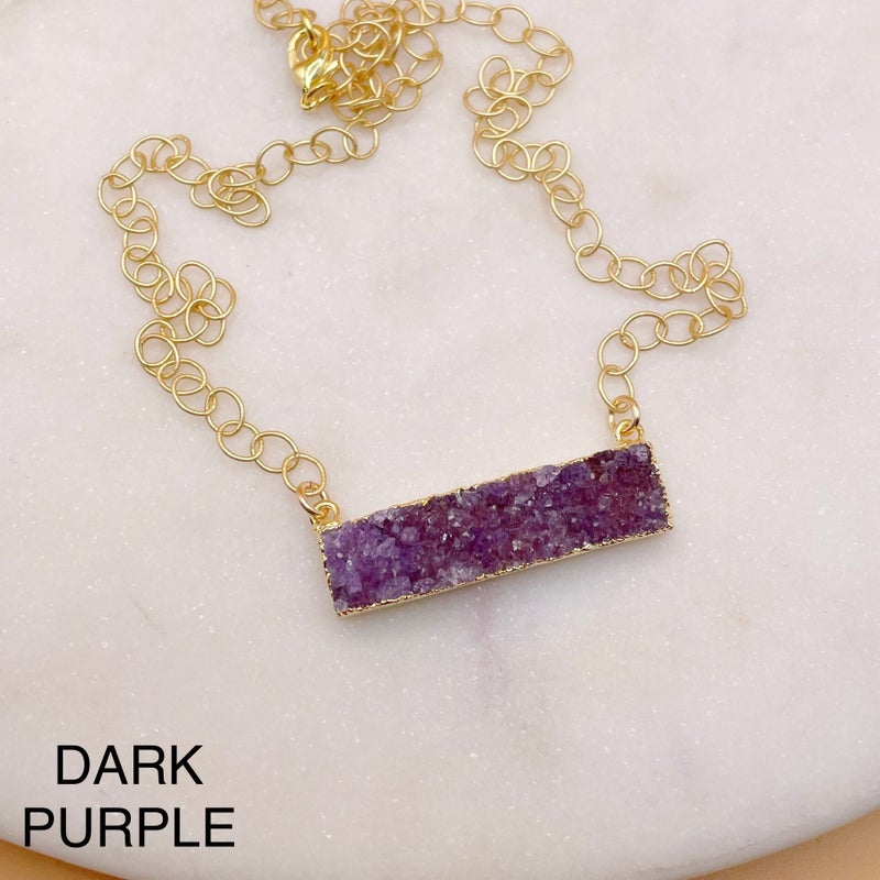 Custom Bar Druzy Necklace - Gold (7 Colors)