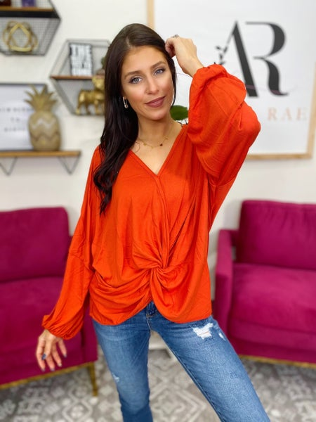 Shayna Twist Front knot Orange