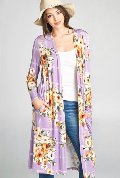 Floral windowpane cardigan duster