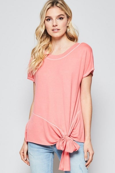 Tie Front Detail Dolman Sleeve Knit
