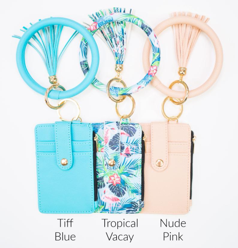 Combo Key Ring Zipper Wallet - 9 Colors!