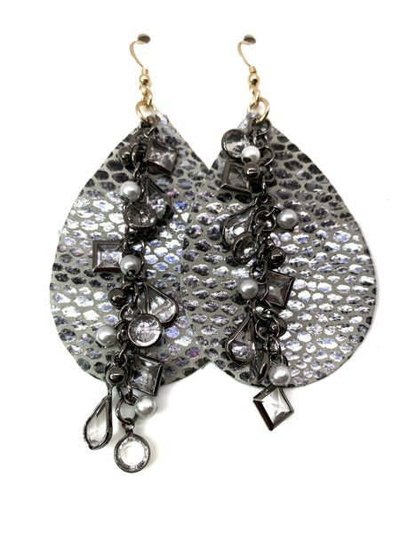 Silver Python Leather & Chains Earrings
