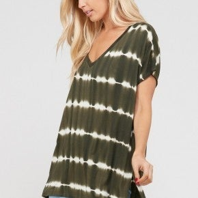 Deep V Neck Loose Fit Tie Dye Top