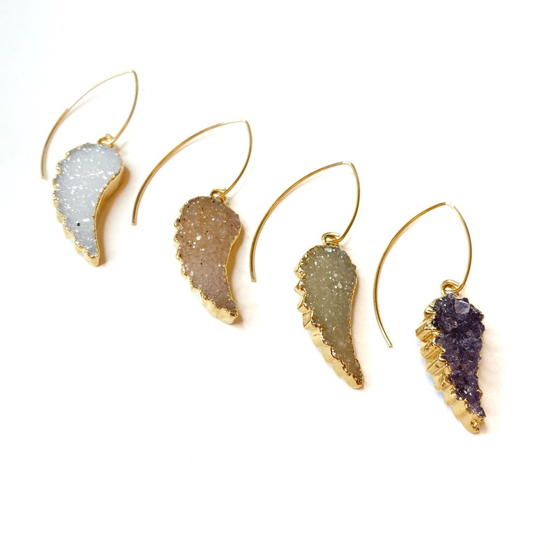 Gold Druzy Angel Wing Earrings! - 4 Colors!