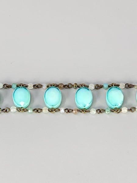 Beaded Bracelet with Oval Stones- Sky