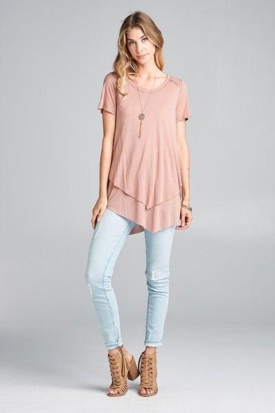 Short sleeve, double hem t-shirt
