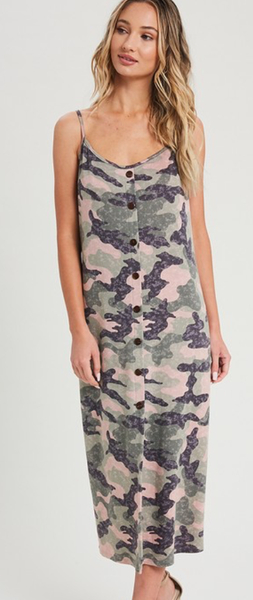 Cross My Mind Camo Dress