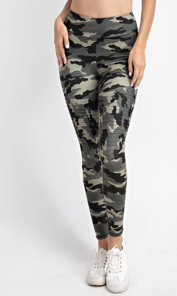 Dancing On My Own Front Pleated Camo Leggings