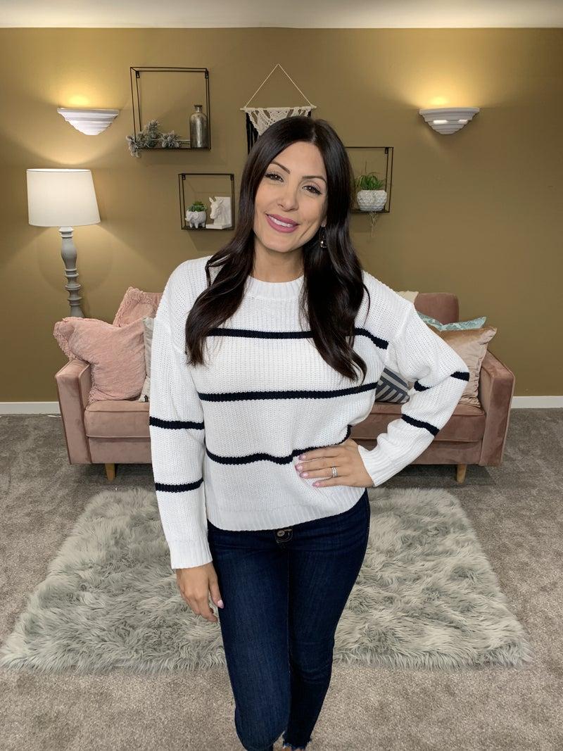 POL Cream And Sugar Striped Sweater