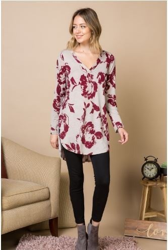 Floral Printed V-Neck Long Sleeved High Low Tunic Top