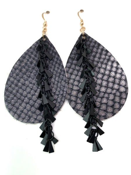 Pewter Python Leather Earrings