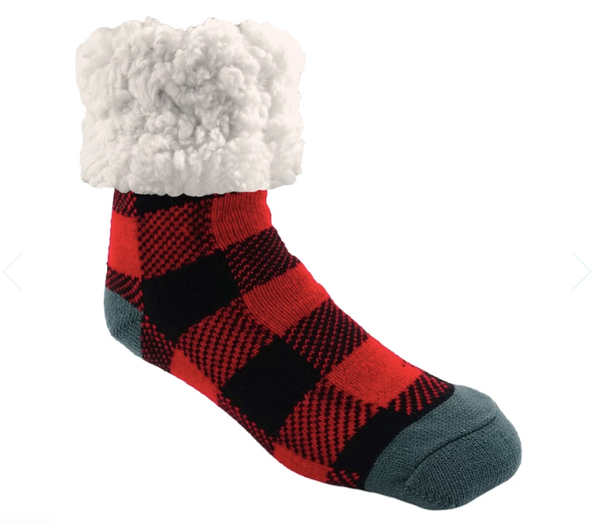 Pudus Red Buffalo Plaid Slipper Socks - Adult
