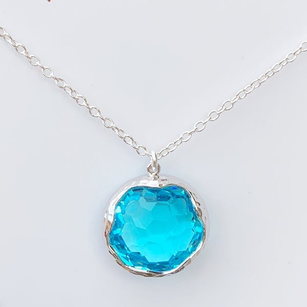 Aqua Shine Bright Gem Necklace