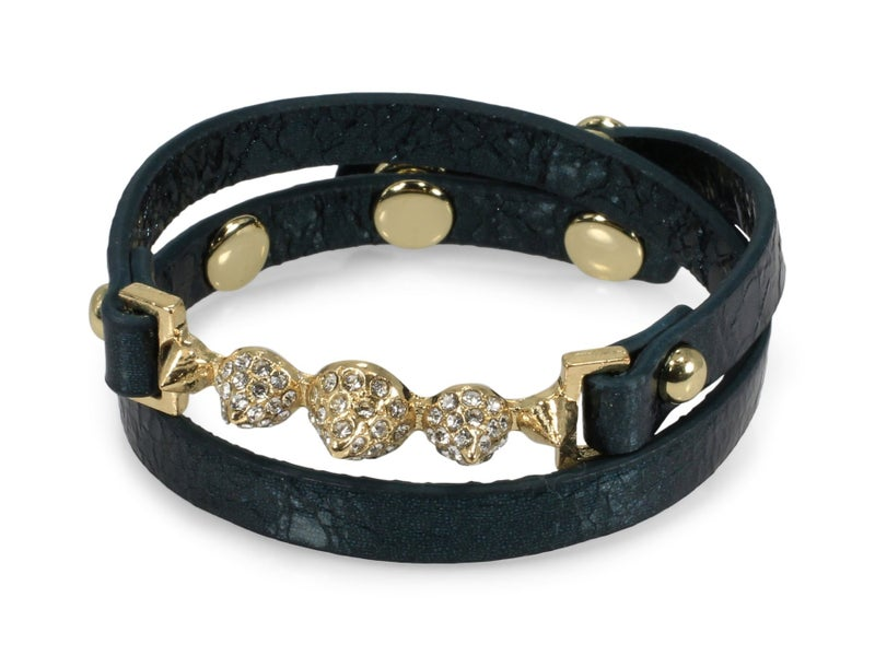 Erimish Spike Leather Wrap Bracelet