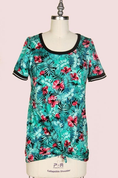 Teal Combo Floral Top