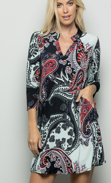 Paisley Pattern Pocket Dress