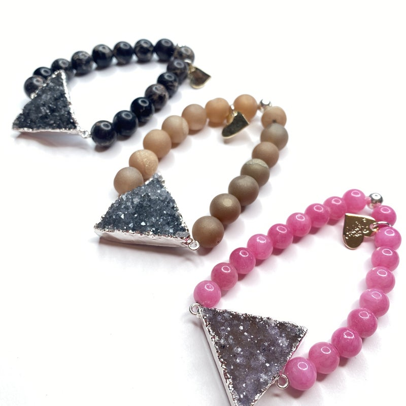 Silver Druzy Triangle Bracelet - Regular
