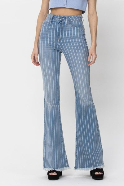 Cello Pinstripe Frayed Flare Jeans
