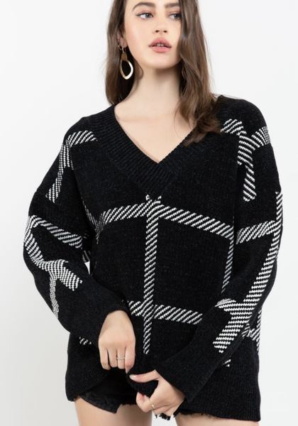 POL Risk It All Plaid V-Neck Sweater